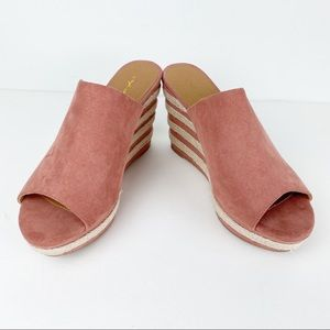 Qupid Wedge Faux Suede